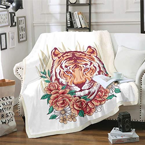 Manta de forro polar de tigre con estampado floral para niños, niñas, adolescentes, diseño de animales salvajes, manta sherpa, manta de lujo, silla de cama, silla de bebé, 76 x 100 cm
