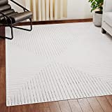 EdenbrookAlder CollectionModern GrayAbstractStripedArea Rug–Geometric Line Pattern-Low Pile for High Traffic Areas