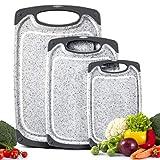 MASTERTOP Schneidebrett Set, 3er Schneidebretter Kunststoff mit Saftrillen, rutschfest, Antibakteriell BPA frei Schneidebretter in verschiedenen Größen für Obst/Gemüse/Fleisch