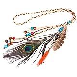 Girl Decorating Headwear Peacock Plumas Señoras Diadema Hippie Tocado Hecho A Mano Tribal Tocado Accesorios for el cabello Feather Tassel Headband ( Color : Multi-colored , Size : One size )
