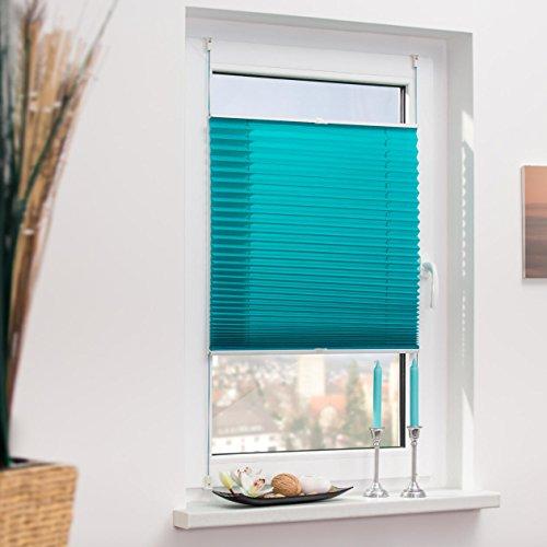 Lichtblick Plissee Klemmfix, 100 cm x 130 cm (B x L) in Blau, ohne Bohren, Sicht- und Sonnenschutz, lichtdurchlässig & blickdicht - 3