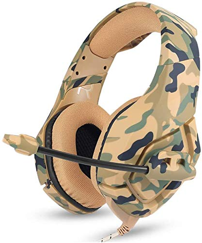 Headphone Game Surround Sound Game Headphones Wired Headset Game Heavy Low Sound Headphones, Music, Sports,Camouflageyellow