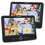 FANGOR 10.1'' Inch Car DVD Player Dual Screen, Headrest Video Player with 5 Hour Rechargeable Battery, Twin Screen for Kids Support USB&SD Slot