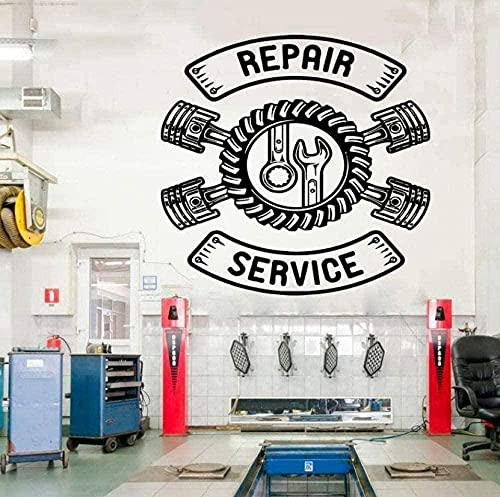 Pegatina de vinilo para pared, pegatina de pared Art Deco, reparación de coches, servicio de reparación de neumáticos, pegatina de flores, sala de estar, dormitorio, 42x42cm