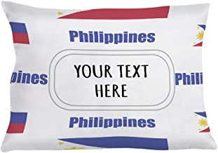 Style In Print Personalized Pillow Case Philippines Country Flag Polyester Pillow Cover 20INx28IN Custom Text Here Set of 2