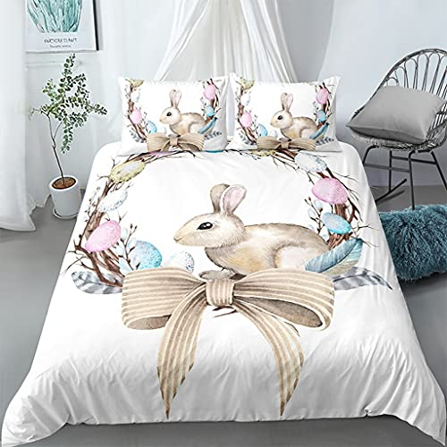 WhjfLins Juego de ropa de cama 3D de lujo, microfibra suave y transpirable, 1 funda nórdica + 2 fundas de almohada, para cama individual/doble, diseño de conejo (1,200 x 200 + 2 x 50 x 75 cm)