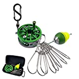 iLure Creative Fishing Gear&Fishing Gifts for Men, 23 Feet Long Fishing String with 8 Stainless Steel Snaps, Reel and Bobber Fishing Tool for Fishing/Ice Fishing/Fly Fishing/Kayak (Green)
