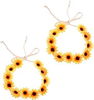BinaryABC Sunflower Headband Crown Hair Wreath,Daisy Flower Headband,2Pcs