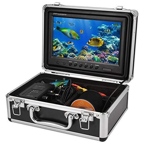 ASHATA 9-Zoll-Farbmonitor Fischfinder-Kamera, Protable 1000TVL Unterwasserfischen HD-Kamera-Kit mit 12 Stück LED-Leuchten / 30 Meter Kabel(EU)