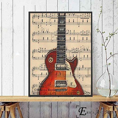 asfrata265 Colcha Guitarra Música Arte Lienzo Pintura Carteles E Impresiones Sala De Estar Sin Marco Arte De La Pared Imagen Decoración para El Hogar K222 40X50Cm
