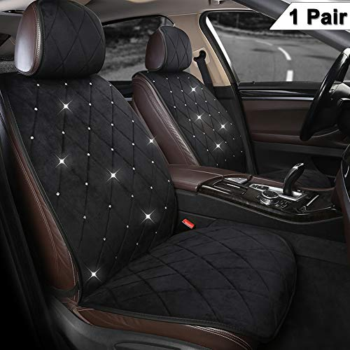 Black Panther 1 Pair Luxury Front Car Seat Covers Protectors with Blingbling Rhinestones Soft Velvet Fabric for Women Girls, Universal Fit 95% of Cars