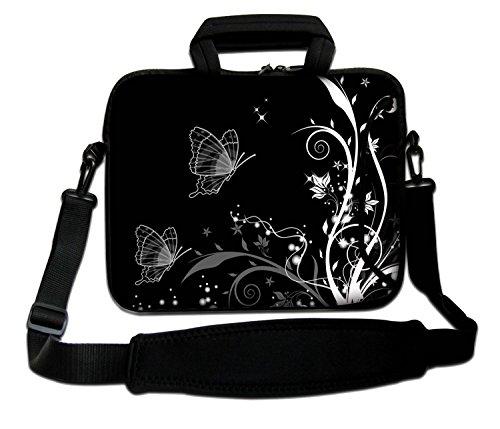 Luxburg® 13,3 Zoll Schultertasche Notebooktasche Laptoptasche Tasche mit Tragegurt aus Neopren für Laptop/Notebook Computer - Schmetterlinge Schwarz-Weiß