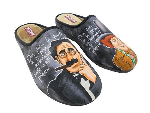 Zapatillas de Estar por Casa para Hombre Hermanos Marx Mod.529. Calzado Made in Spain, Garantia de Calidad. (45)