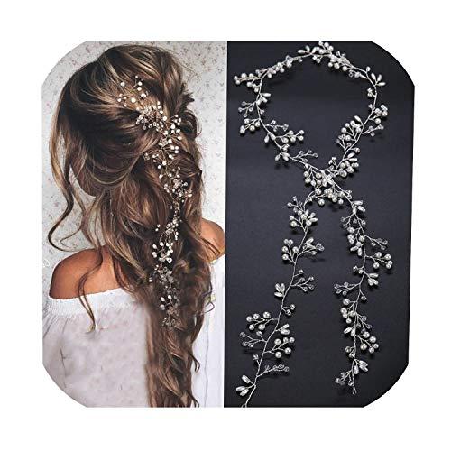 Bruids Luxe Lange Parel Kristal Bloem Hoofdbanden Mode Haarband Zilver Goud Bruiloft Haar Wijnstok Handgemaakte Vrouwen Ketting Hoofdband, Als foto tonen, Zwart size one_color