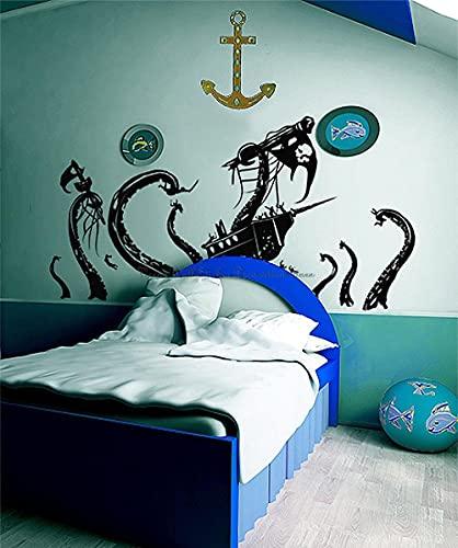 BBZZL Etiqueta engomada de la Pared del Pulpo Pirata Etiqueta de Vinilo Art Deco, Adecuada para Puerta de Vidrio de baño de Dormitorio Familiar L 107x57cm
