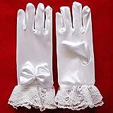 RANJINOUTD Stilvolle weiße Spitze Mädchen Performance Handschuhe Sweet Party Kinder Handschuhe Kostüm Zubehör, Größe: S (For Alter 4-8)