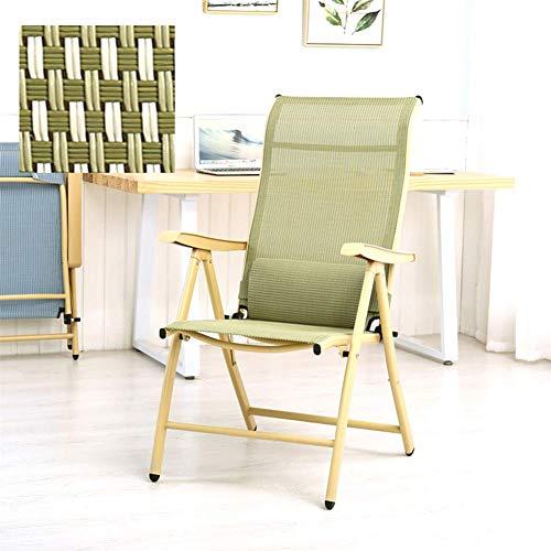 HUALI Salón Silla Plegable Silla reclinable Nap sillas de Patio Respaldo Ajustable con la Almohadilla del Apoyo for la Cabeza Plegable reclinable Apoyabrazos Oficina Verde LIULI (Color : Green)