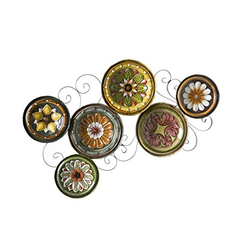 SEI Furniture Scattered Italian Plates Wall Art - Multicolored Floral Designs - Durable Metal