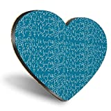 Posavasos con diseño de corazón de MDF, color azul, con estampado de alfabeto para niños y niñas, con calidad brillante, protección de mesa para cualquier tipo de mesa #44349