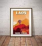 guyfam Vintage Poster Laos - Vang Vieng - Air Balloon -