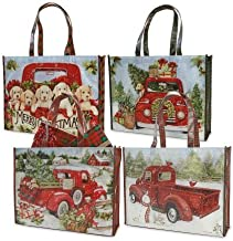 Red Truck Christmas Shopping Totes- Set of 4 Heavy Duty Reusable Gift Bags