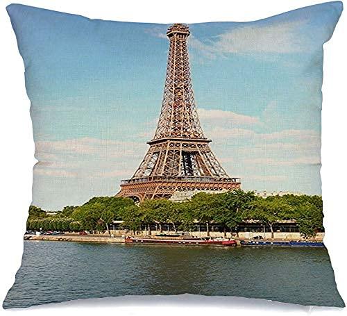 Funda Decorativa para cojín, Funda de cojín, Metal francés Parque de París, Ciudades Eiffel, Torre, hitos de Hierro, hitos, Color de Primavera, Puentes, Funda de Almohada Gauche
