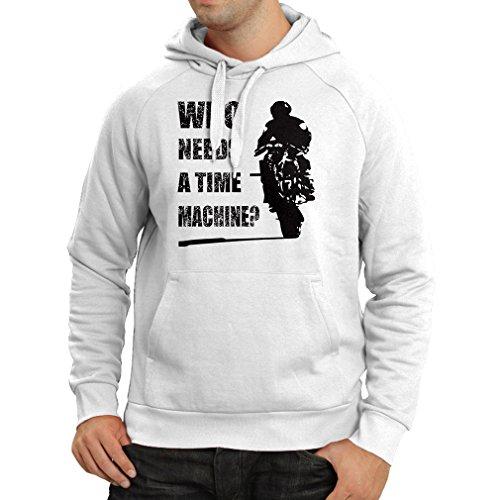 lepni.me Felpa con Cappuccio Abbigliamento Moto (Medium Bianco Multicolore)
