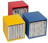 cubix Caja de almacenamiento de CD de madera con 3 cajas para guardar hasta 40 CDs. Diseño decorativo y atractivo.