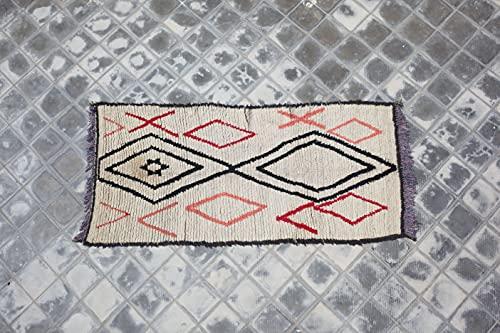 SoloBonito Azilal Berberteppich 100 x 210 cm handgewebt Teppich aus hochwertiger Schurwolle (0061)