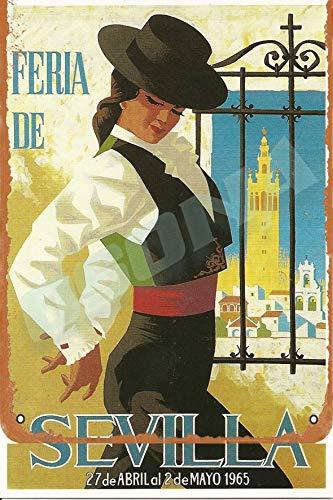 OSONA Feria De Sevilla 27 De Abril Ai 2 De Mayo 1965 Retro nostálgico arte tradicional color óxido logotipo de lata publicidad llamativa decoración de la pared regalo