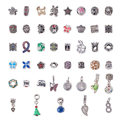 NBEADS 50 Stück Spacer Perlen, Strass Armband Perlen Metall Spacer Beads Legierung Emaille Charms für European Snake Chain Charm