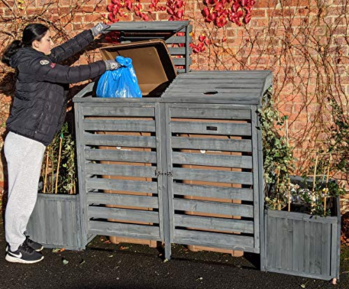 BinGarden Double Wheelie Bin Store with Bi-Fold Roof and matching Planters. Garbage Shed for up to 240L Bins / 65G Cans. Planter Boxes for storage of two Kerbside Recycling Boxes, Painted Dark Grey