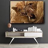 NIMCG HD Pintura 3D Pintura al óleo del Animal del Tigre del ángulo en la Lona del Arte Moderno Imagen de la Pared para el sofá de la Sala de Estar del Cartel