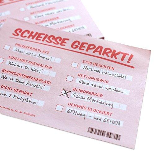GOODS+GADGETS Scheiße geparkt! Lustige Notizzettel mit STVO Verwarnung für die Windschutzscheibe - Fake Knöllchen Strafzettel-Look für Falschparker | extra groß DIN A6 mit 105x148mm!