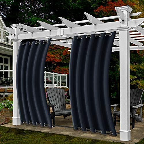 Frelement Outdoor Curtains Drapes 120W x 84L Thermal Insulated Waterproof Indoor Outdoor Decoration Windproof Exterior Extra Wide Drapes for Gazebo Pavilion, Navy, 1 Panel