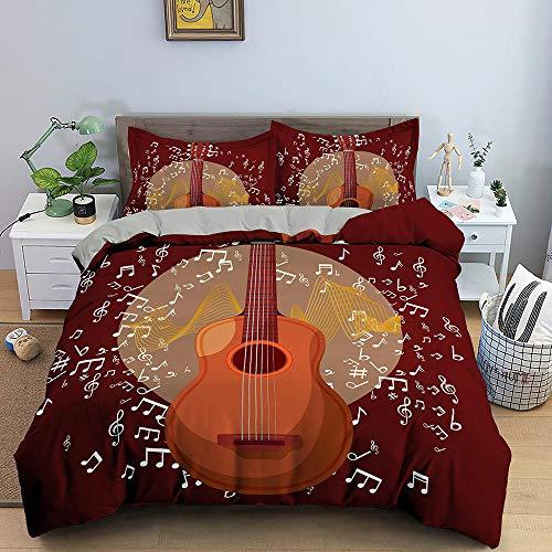 HGFHGD 3D-Bettbezug-Set für Erwachsene und Kinder, Motiv: Musikgitarre