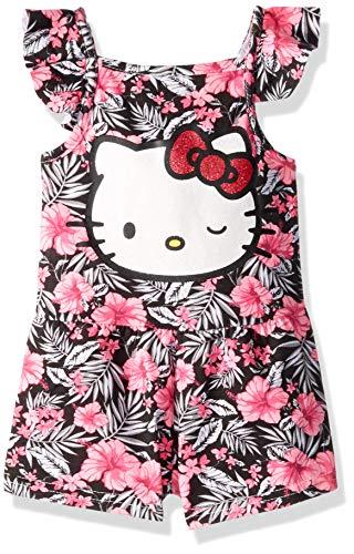 Hello Kitty Baby-Mädchen Girls' Knit Romper Jumpsuit, Schwarz/Rosa Blumenmuster, 24M US