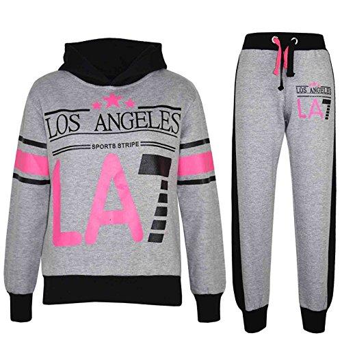 A2Z 4 Kids A2Z 4 Kids Kinder Mädchen Trainingsanzug LOS Angeles LA7 Aufdruck - T.S LA7 Grey & Black 7-8