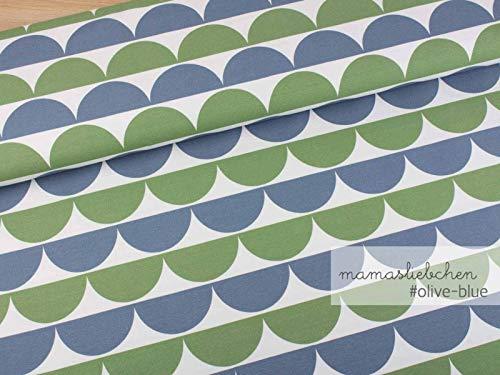 Mamasliebchen Jersey-Stoff iloveruffles #Olive-Blue (0,5m) Bögen Halbkreise Meterware