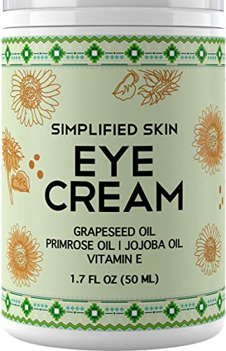 Nourishing Eye Cream for Dark Circles, Fine Lines, Sagginess & Puffiness. Best Under & Around Eyes Moisturizing Treatment with Organic Jojoba oil, Vitamin E & Witch Hazel by Simplified Skin 1.7 oz