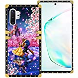 DISNEY COLLECTION Samsung Galaxy Note 10+ 5G 6.8 Inch 2019 Luxury Phone Case Belle Beauty and The Beast Dance Romantic Square Phone Cover Metal Decoration Corner Shockproof Phone Shell