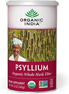 Organic India Psyllium Herbal Powder - Whole Husk Fiber, Healthy Elimination, Keto Friendly, Vegan, Gluten-Free, USDA Cert...