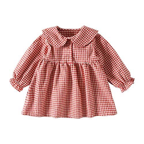 ベビー服ワンピース長袖女の子春秋子供服赤ちゃん前ボタンプレゼント贈り物バースデーレッド110�p