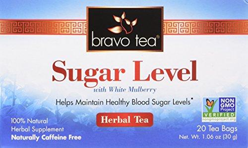 Bravo Tea, Sugar Level (Blood Sugar) Herbal Tea, Caffeine Free, 20 Tea Bags