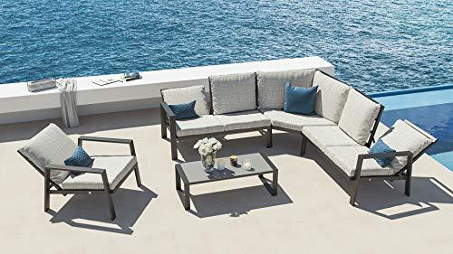 ARTELIA Theia L Aluminium Lounge Ecke, Alu Gartenmöbel-Set Sitzgruppe für Garten, Terrasse und Wintergarten, Anthrazit
