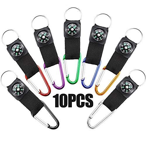 10 Stück Kompass Schlüsselanhänger,Karabiner Schlüsselanhänger Schlüsselanhänger Werkzeug Outdoor Sport Schlüsselanhänger Karabiner Mit Kompass Für Camping Wandern Klettern Angeln Oder Reisen