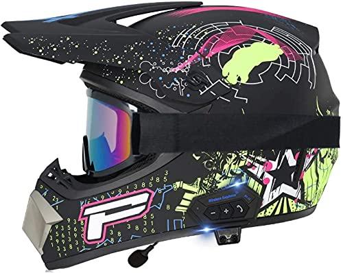 XLYYHZ Casco Todoterreno Bluetooth para Motocross para Adultos, Conjunto con Guantes, máscara, Casco de Motocicleta Todoterreno ATV con Certificado Dot HD Double Sport MX Downhill Full Face Helmet