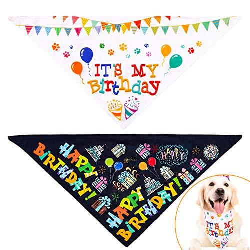 Whaline Halstuch für Hunde, wendbar, dreieckig, geeignet für Hunde, Katzen, Haustiere, Geburtstagsparty-Zubehör (weiß und schwarz)
