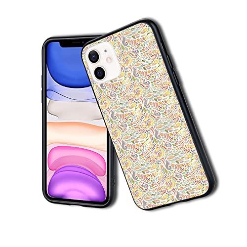 Diseño colorido enredado con pétalos de hojas florales abstractas Funky Nature Concept, funda delgada para teléfono iPhone Funda protectora de silicona TPU ligera ultra delgada patrón impreso