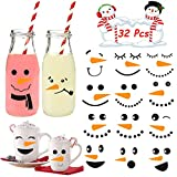 Cute Snowman Face Stickers 32pcs Small Snowman Wall Decals Vinyl Snowman Faces Cup Stickers,Christmas Stickers for Snowman Face